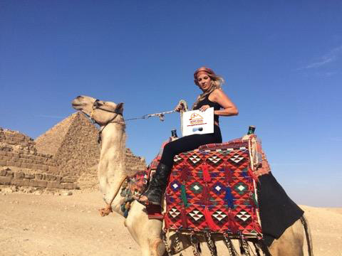 Pyramids Happy clients camel ride